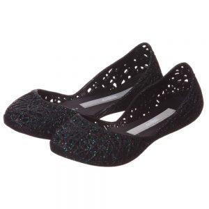 MINI MELISSA Black Glitter 'Campana' Slip-On Jelly Shoes4