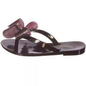 MINI MELISSA Black Jelly Flip-Flops with Bow1