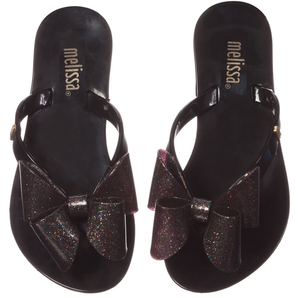 2229abd1c MINI MELISSA Black Jelly Flip-Flops with Bow - Children Boutique