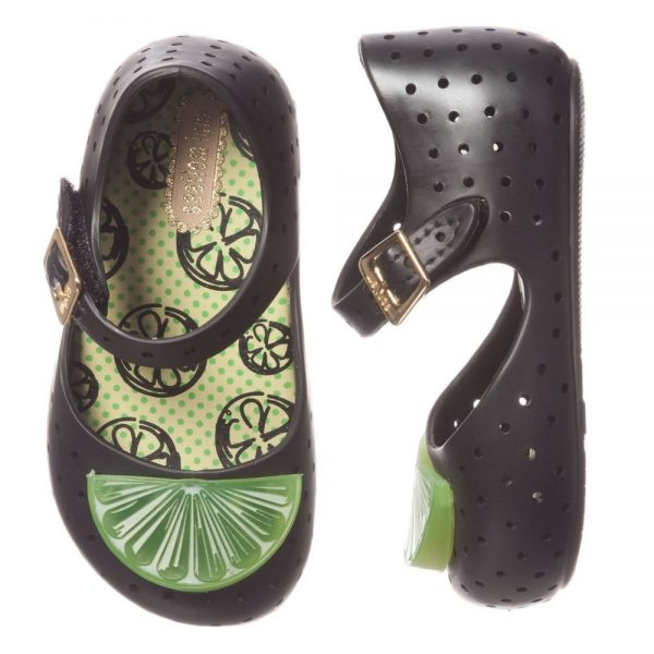 MINI MELISSA Black Jelly Shoes with Lime Slice2