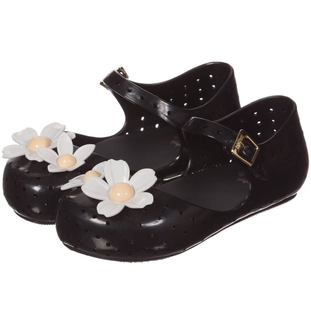 83bf3f92e MINI MELISSA Black Jelly Shoes with White Flowers - Children Boutique