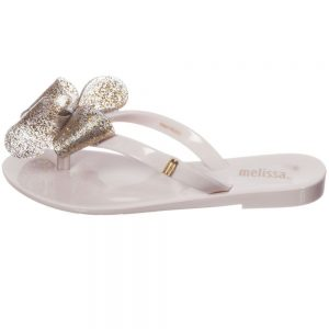 MINI MELISSA Ivory Jelly Flip-Flops with Bow