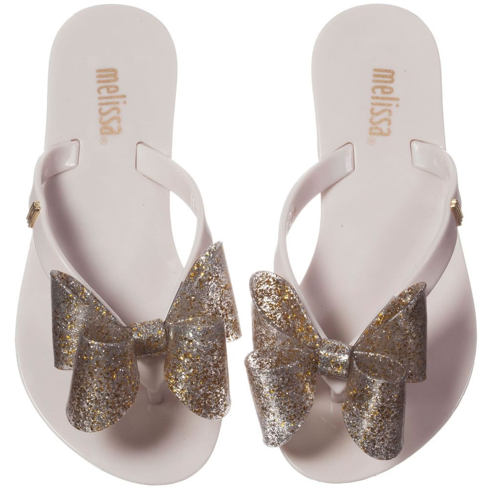 Mini Melissa Ivory Jelly Flip Flops With Bow Children