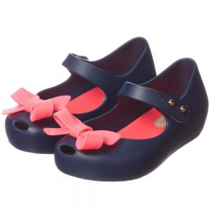 MINI MELISSA Navy Blue Jelly Shoes with Pink Bow1