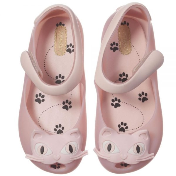 MINI MELISSA Pale Pink Cat Jelly Shoes2