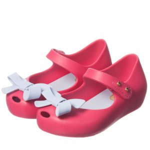 MINI MELISSA Pink Jelly Shoes with Blue Bow2