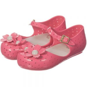 MINI MELISSA Pink Jelly Shoes with Flowers1