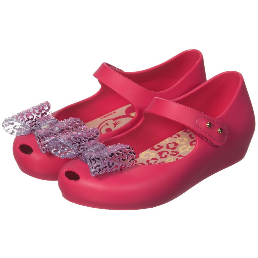 39f6e34d3f0ee MINI MELISSA Pink Minnie Mouse Jelly Shoes with Bow - Children Boutique