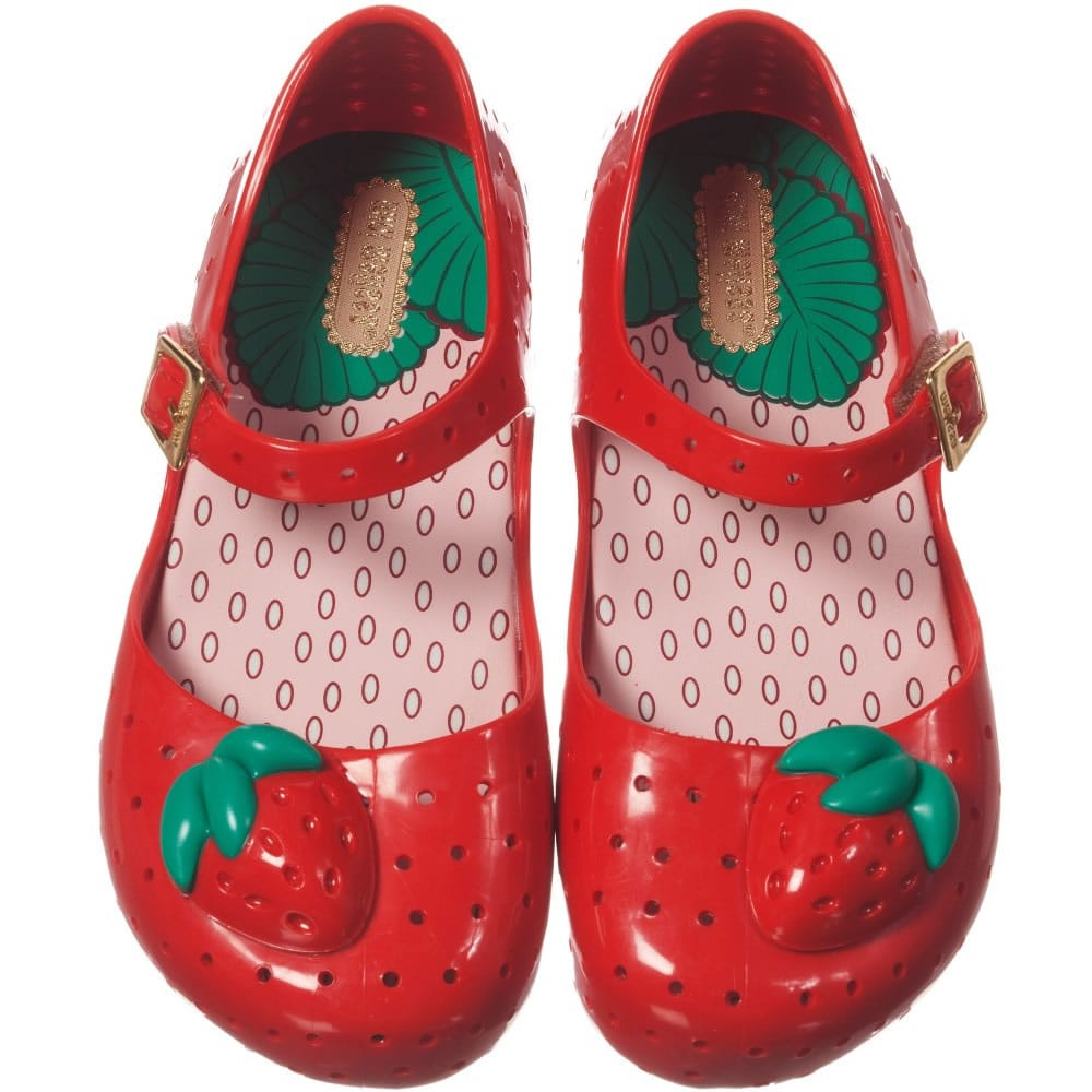 Mini Melissa Red Jelly Shoes With Strawberry Children