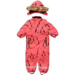 MINI RODINI Pink Penguin Print Snowsuit
