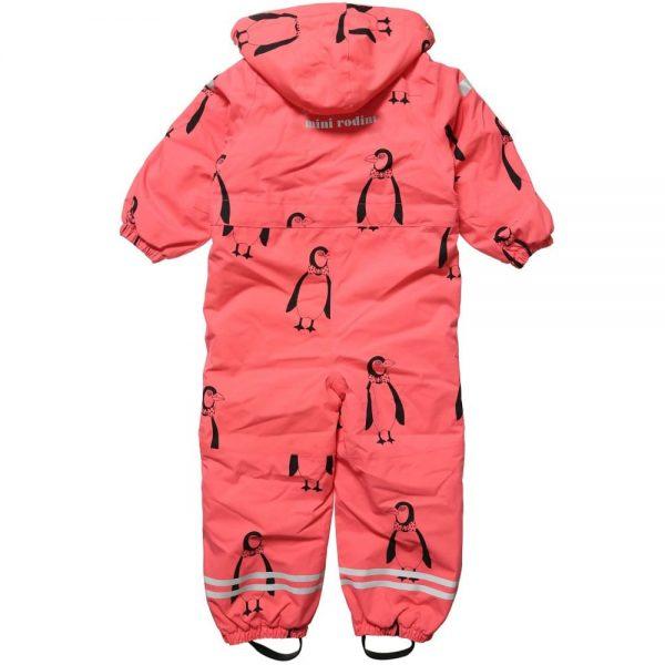 MINI RODINI Pink Penguin Print Snowsuit1