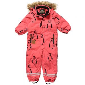 MINI RODINI Pink Penguin Print Snowsuit3