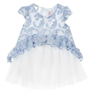 MISS BLUMARINE Baby Girls Blue Tulle Dress with Bloomers2