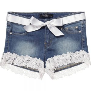 MISS BLUMARINE Denim Shorts With Lace