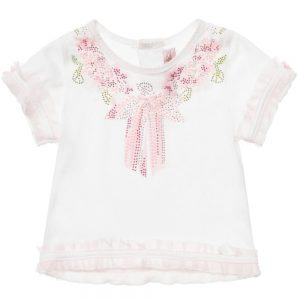 MISS BLUMARINE Girls White Cotton T-Shirt with Diamante Ribbon1