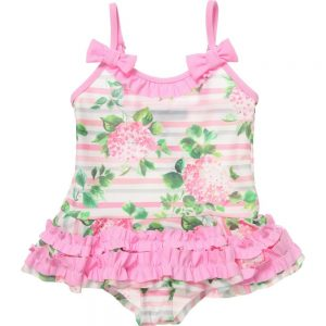 MISS BLUMARINE Pink Floral Swimsuit with Ruffles