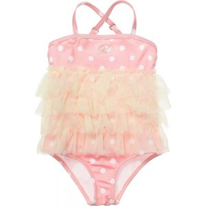 MISS BLUMARINE Pink Swimsuit with Yellow Tulle Trim