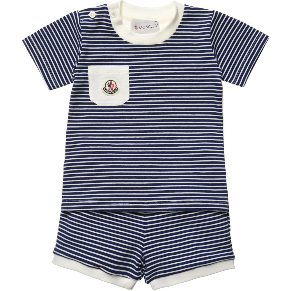 MONCLER Baby Boys Navy Blue Striped T-Shirt & Shorts1 ...