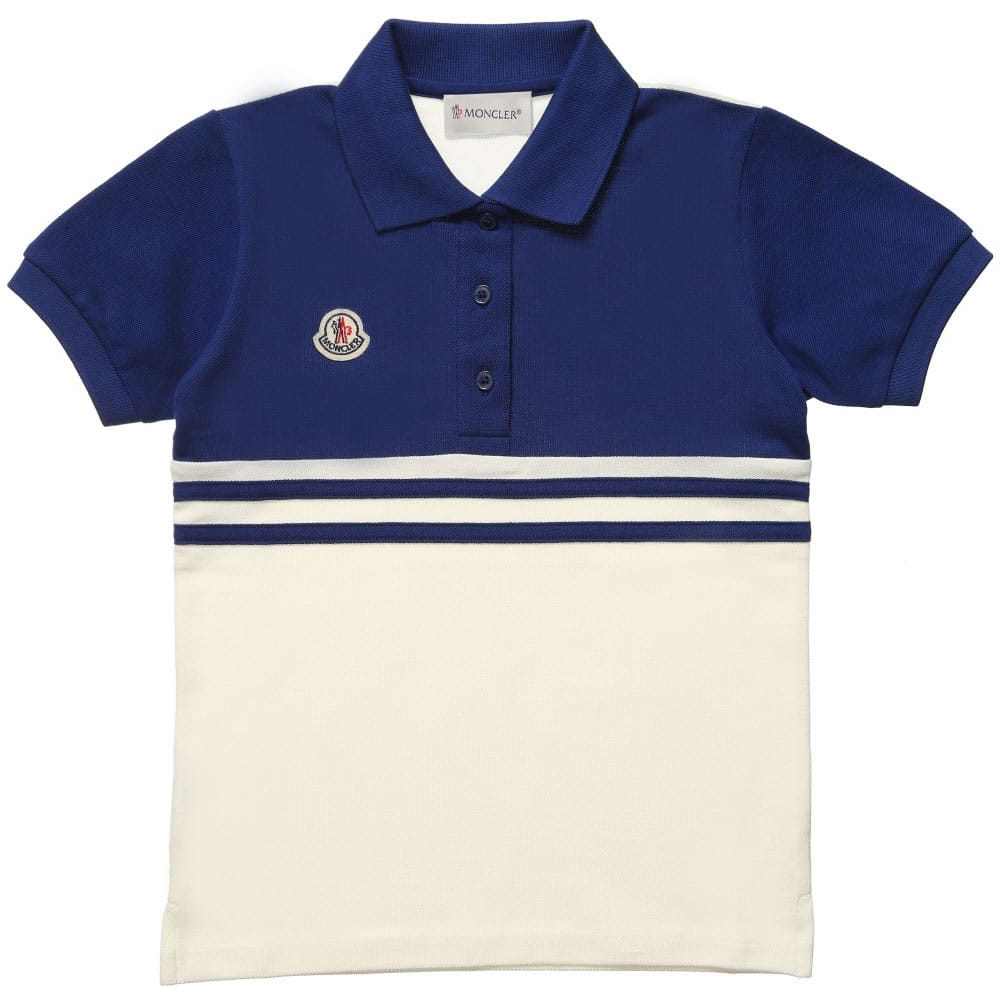 0ece4deaec96 MONCLER Boys Blue   Ivory Pique Polo Shirt