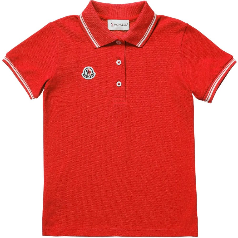 88100b95b929 MONCLER Boys Red Pique Cotton Polo Shirt