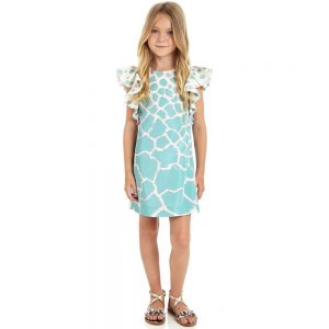 ROBERTO CAVALLI Green Silk 'Pastel Giraffe' Shift Dress 1