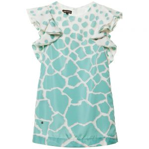 ROBERTO CAVALLI Green Silk 'Pastel Giraffe' Shift Dress