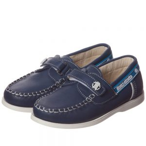 ROBERTO CAVALLI Navy Blue Leather Deck Shoes with Velcro Strap