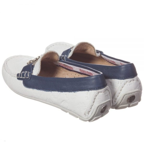 ROBERTO CAVALLI Unisex White & Navy Blue Leather 'RC' Loafers 1
