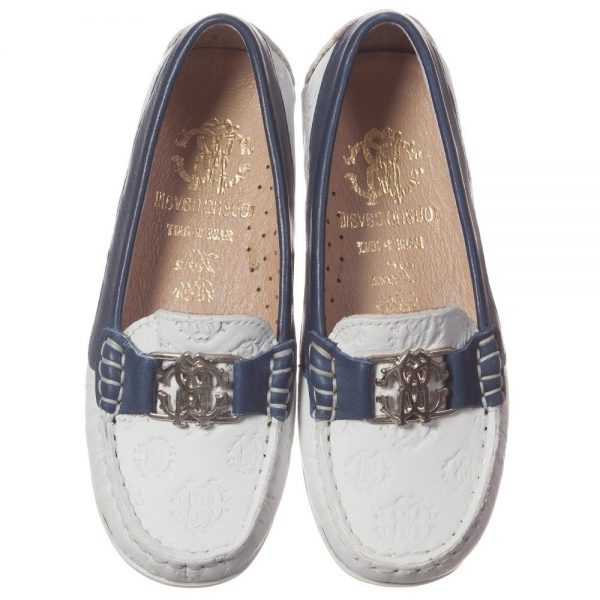 ROBERTO CAVALLI Unisex White & Navy Blue Leather 'RC' Loafers 3