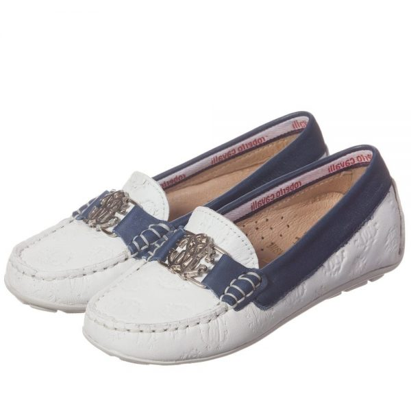 ROBERTO CAVALLI Unisex White & Navy Blue Leather 'RC' Loafers