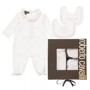 ROBERTO CAVALLI White & Pale Pink Leopard Babygrow & Bib Set