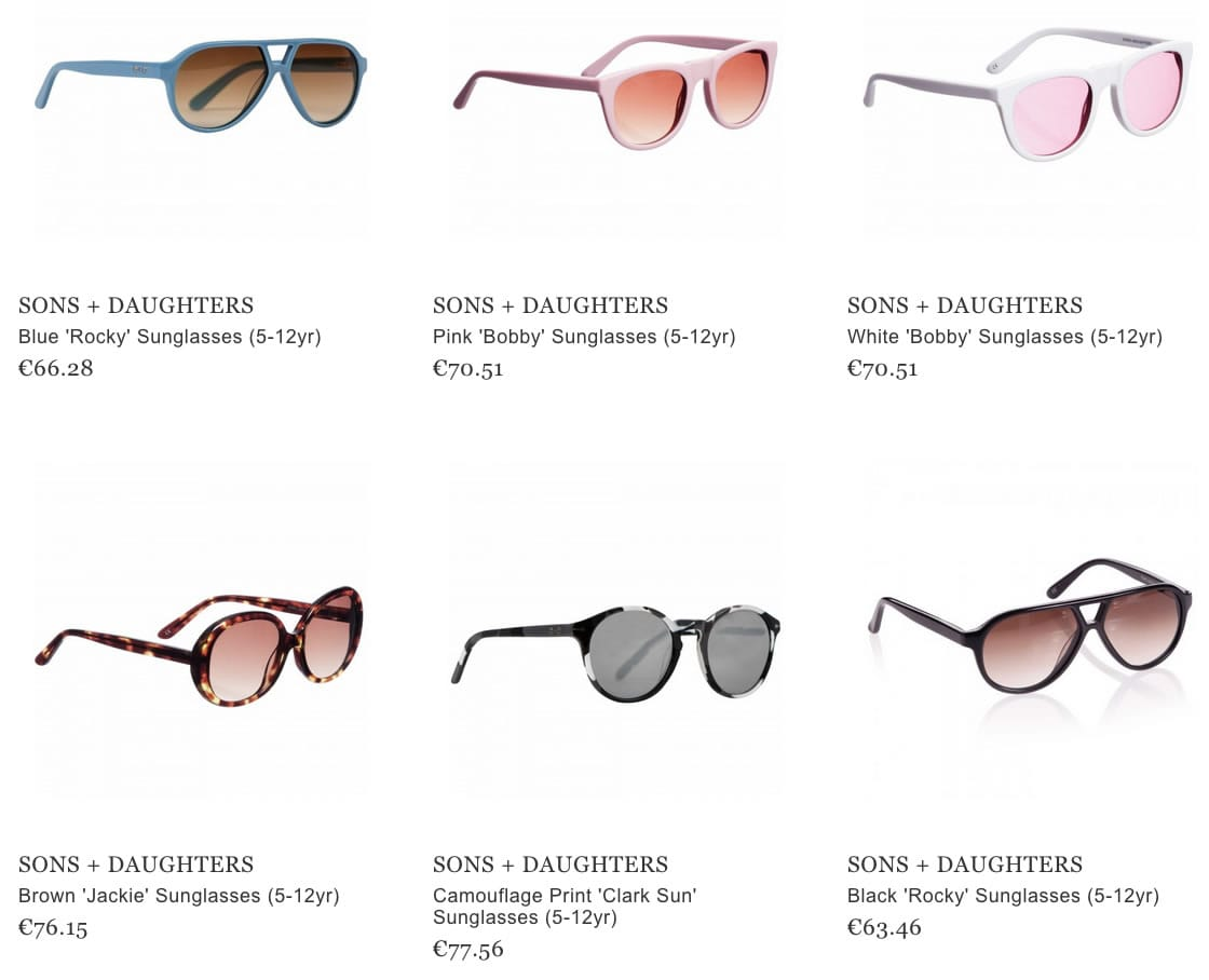 Sons + Daughters kids sunglasses