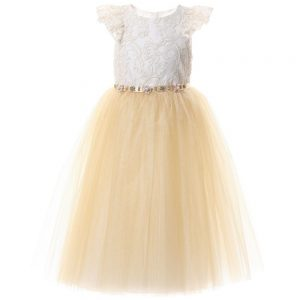 DAVID CHARLES Gold Lace & Tulle Dress