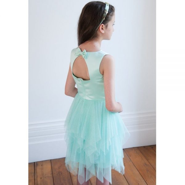 DAVID CHARLES Pale Turquoise Satin & Tulle Glitter Dress 1