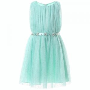 DAVID CHARLES Pale Turquoise Tulle Glitter Dress