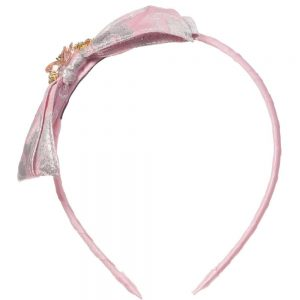 DAVID CHARLES Pink BrocadeHairband with Bow & Jewels 1