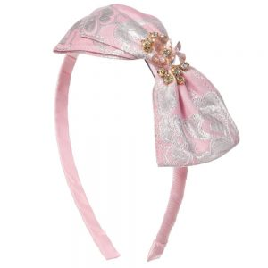 DAVID CHARLES Pink BrocadeHairband with Bow & Jewels