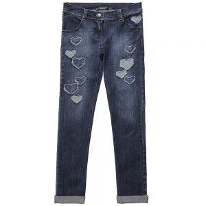 DENNY ROSE YOUNG Girls Blue Jeans with Hearts