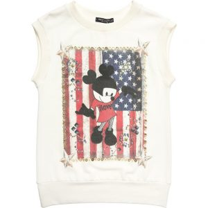 DENNY ROSE YOUNG Girls Ivory Sleeveless Jersey Minnie Mouse Top