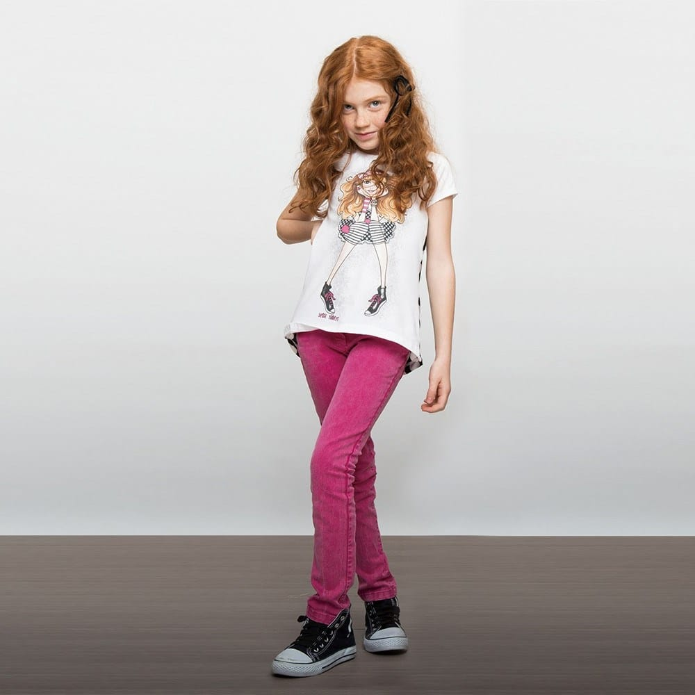Denny Rose Young Girls Pink Slim Fit Cotton Jeans