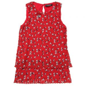 DENNY ROSE YOUNG Puppy Red Pleated Dress