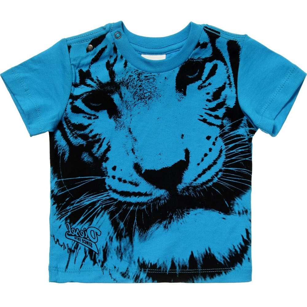 9687773e7 DIESEL KIDS Baby Boys Blue T-Shirt with Tiger Print - Children Boutique