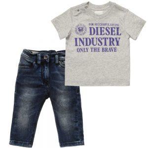 DIESEL KIDS Baby Boys Grey Jersey T-Shirt & Denim Jeans Set 1