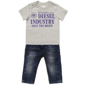 DIESEL KIDS Baby Boys Grey Jersey T-Shirt & Denim Jeans Set