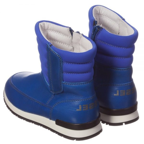 DIESEL KIDS Boys Bright Blue Leather Zip-Up Boots 1