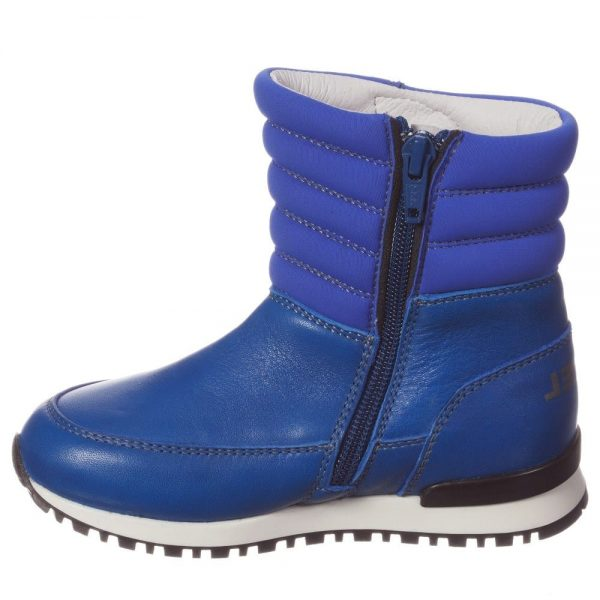 DIESEL KIDS Boys Bright Blue Leather Zip-Up Boots 2