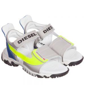 DIESEL KIDS Boys Grey Leather Velcro Sandals with Neon Trim
