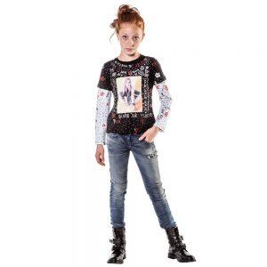DIESEL KIDS Girls Black Cotton 30th Anniversary T-Shirt 1