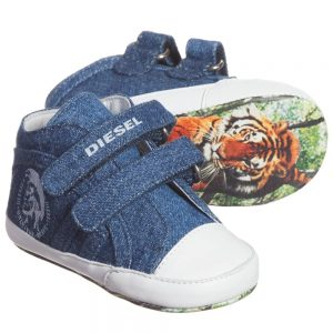 DIESEL KIDS Unisex Denim Velcro Pre-Walker Shoes