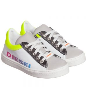 DIESEL KIDS Unisex White Leather Logo Trainers